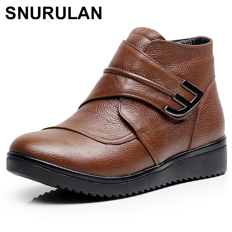 SNURULANNatural Wool Women Boots Genuine Leather Flat Ankle Boots Winter Warm Ladies Shoes Woman Snow Boots