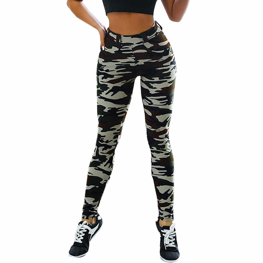 Feitong 2019 Camouflage Printing Elasticiteit Leggings vrouwen Hoge Taille Broek Tummy Controle Afslanken Booty Fitness Leggings