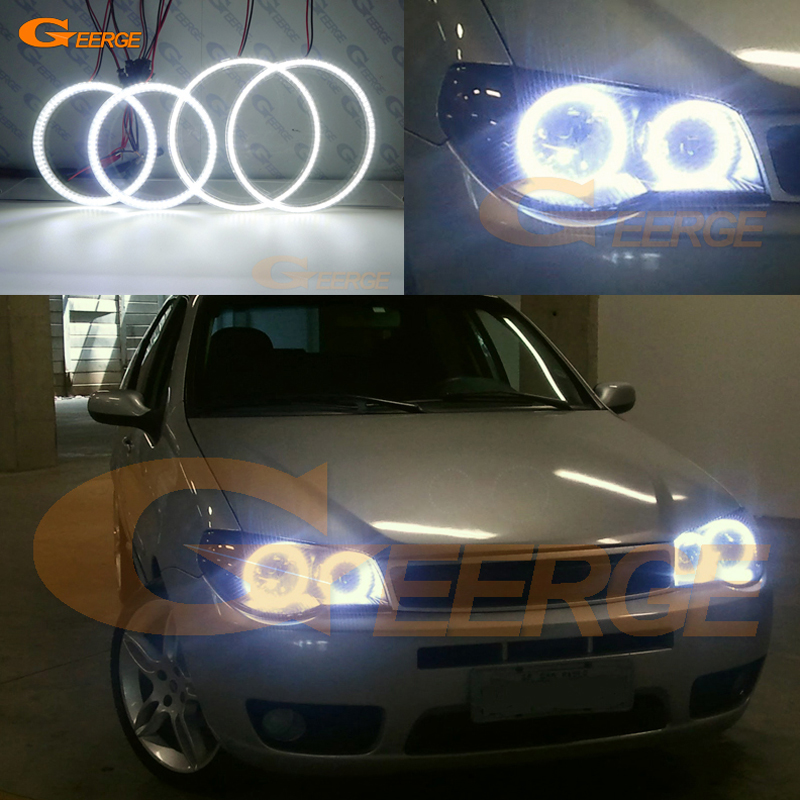 For FIAT PALIO 2004 2005 2006 headlight Excellent Ultra bright illumination smd led Angel Eyes kit DRL for bmw e46 cabrio coupe 325ci 330ci 2004 2005 2006 facelift excellent ultra bright illumination smd led angel eyes kit drl