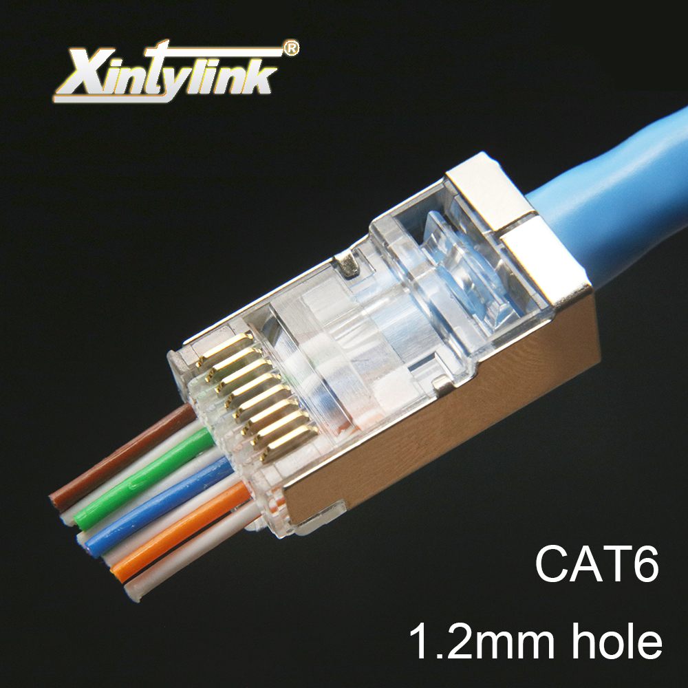Image 2 - xintylink rj45 connector cat6 cat 6 plug 8p8c stp rj 45 male shielded gold plated network ethernet cable jack 1.2mm 50pcs 100pcs-in Computer Cables & Connectors from Computer & Office