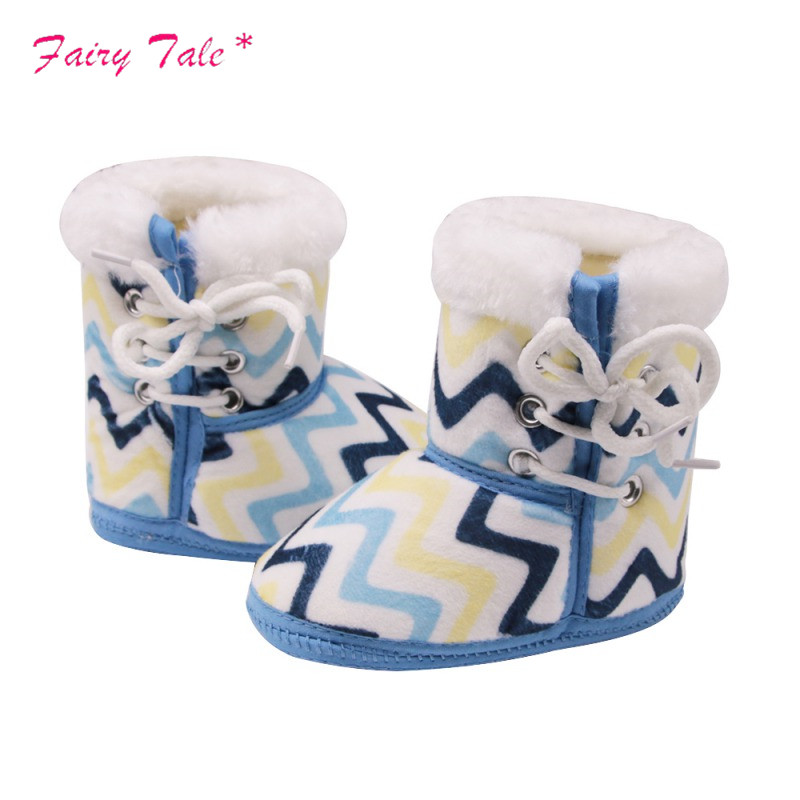 Baby Boots Newborn Multicolored Wavy Print In The Tube Winter Boots Side With Cotton Cloth Baby Warm Boots Handsome Appearance Lights & Lighting
