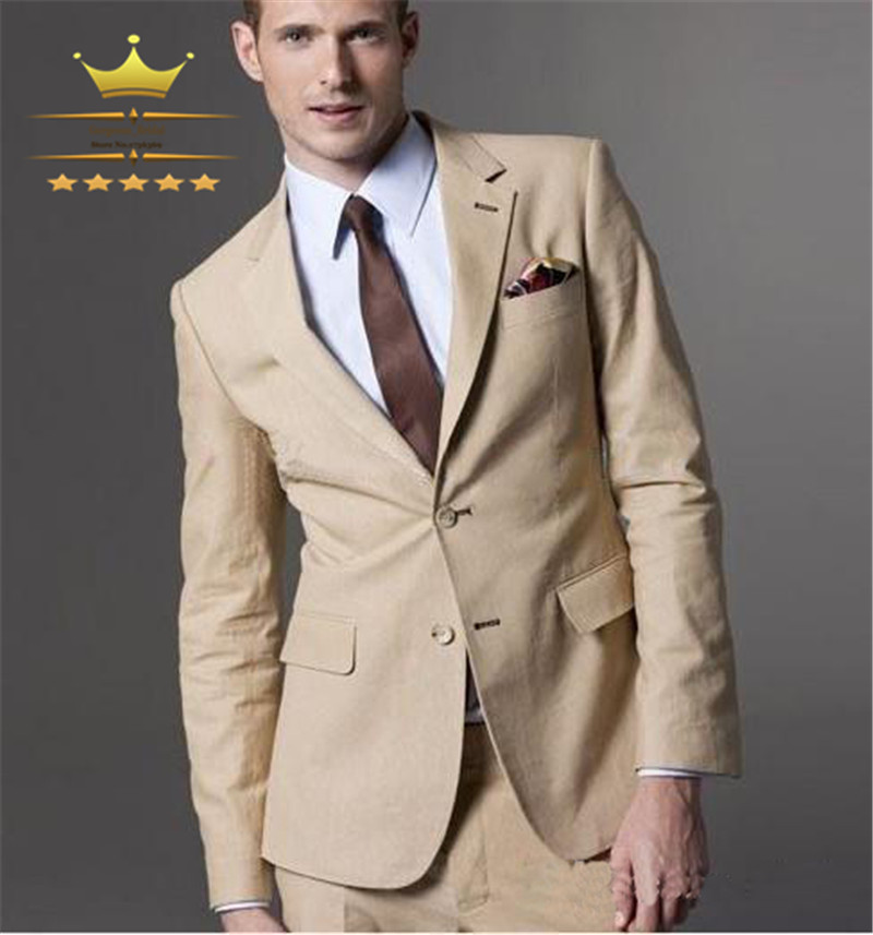 Custom Made Wedding Suits For Men With Pants Khaki Champagne Mens ...