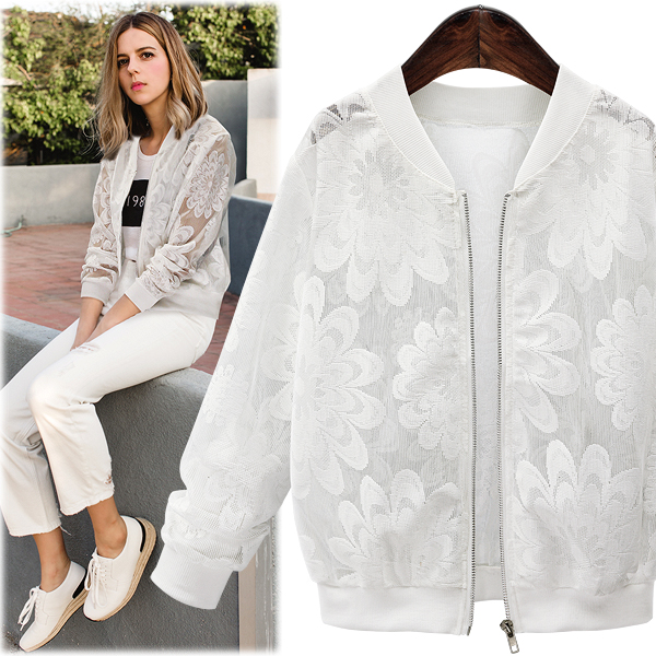 Lace Sleeve Women Basic Coats Long Sleeve Lace Patchwork Transparent Zipper Casual Slim Jacket Coat Bomber Jacket Outwear 0325