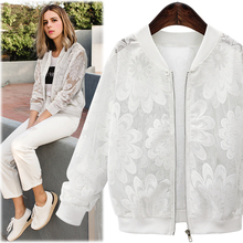 Lace Sleeve Women Basic Coats Long Sleeve Lace Patchwork Transparent Zipper Casu