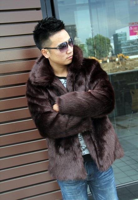 Man Plus Size Imitazione Volpe Gira-giù il Collare Pieno Spessore Dritto  Lungo Cappotto Maschile Cappotto di Inverno Imitazione Visone Cardigan  Caldo ... e93b84ce17ca