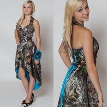 Blue Lining Camo Bridesmaid Dress 2016 Hi-Lo Camo Short Front Long Back Wedding Party Dress Camouflage Maid Honor Gown BD7
