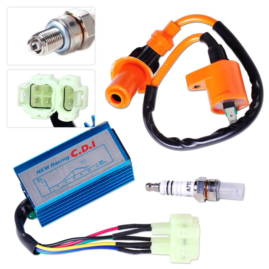 DWCX Performance Ignition Coil + Spark Plug + + Wire CDI Box for GY6 50cc - 90cc 125cc 150cc Scooter ATV Go Kart Moped Dirt bike