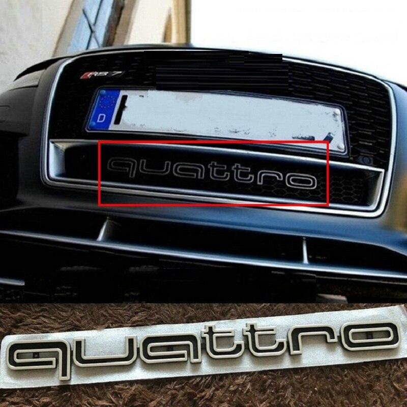 42 cm Noir Rouge Grand Quattro Lettre Emblème Voiture Calandre Garniture Inférieure Badge Logo pour Audi A4L A5 a6L Q3 Q5 Q7 RS3 RS6 S4