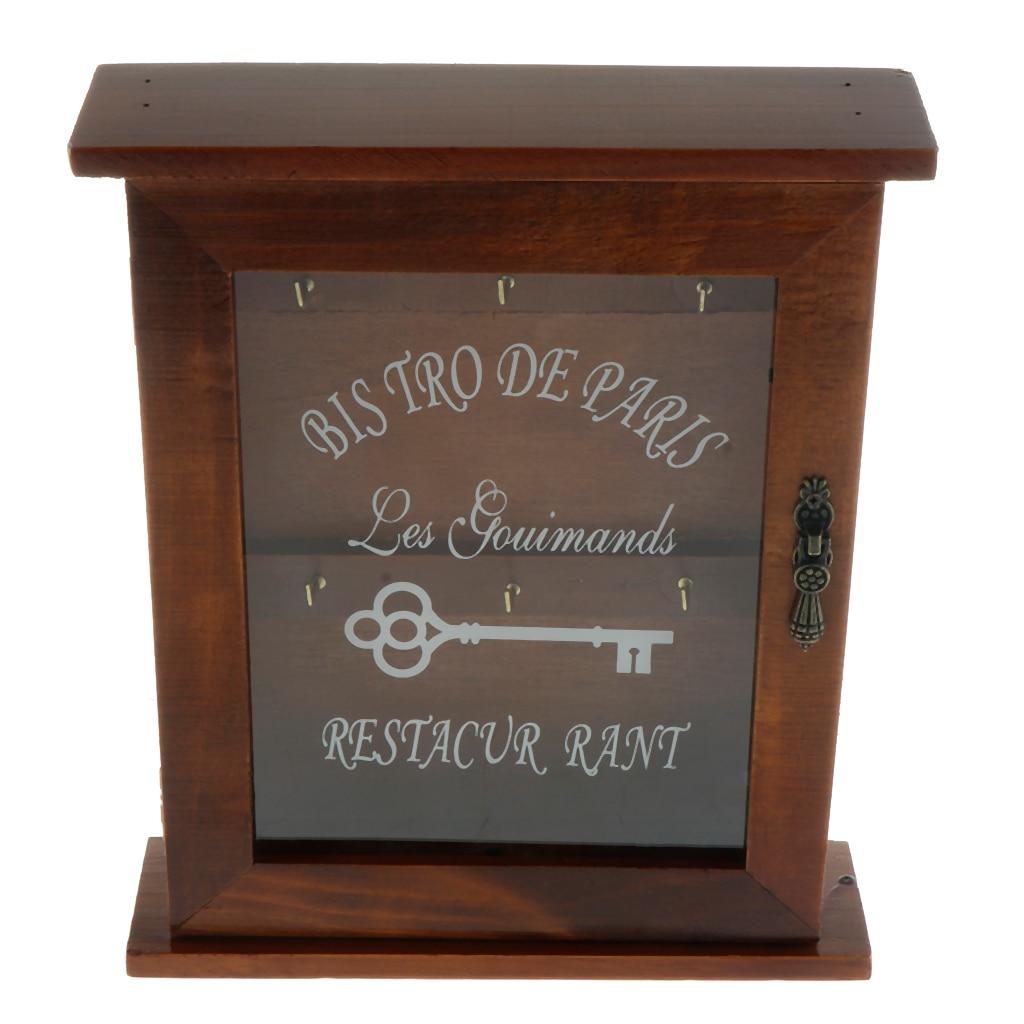 Caixa de madeira do suporte da chave do estilo europeu com 6 ganchos fixado na parede feito à mão com revestimento rústico para a decoração da casa, 21x6x25 cm
