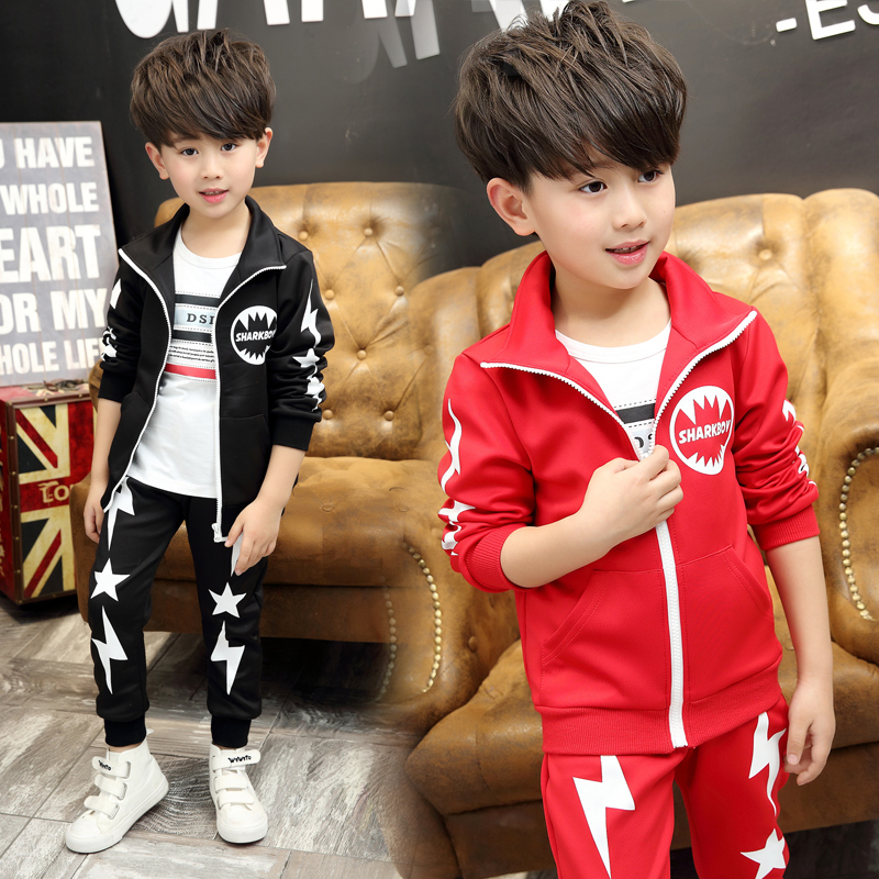 ФОТО Male child set 2017 spring child 4 5 6 long-sleeve t-shirt casual sports 7 8 9 - 11 years old twinset
