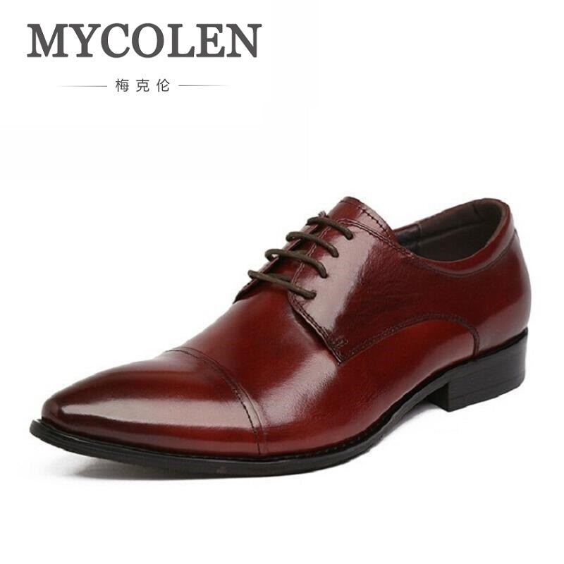 MYCOLEN NEW Brand 100% Genuine Leather Men Oxfod Shoes Lace-Up Casual Business Men Wedding Shoes Pointed Toe Comfort Shoes футляр для автомобильных ключей audi s3 s4 a4 a8 tt rs 200pcs
