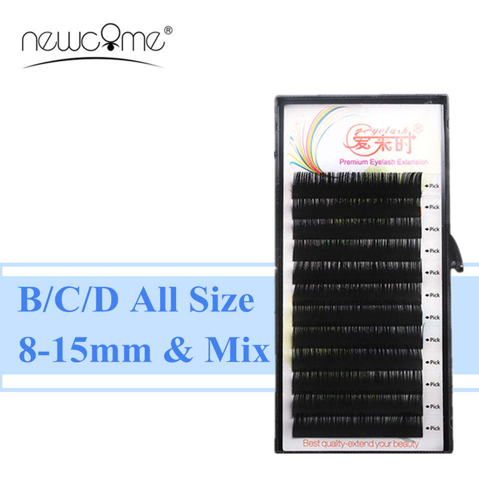 100% Handmade High Quality Korea Silk Eyelash Extensions Individual Eyelash Natural Eye  ...