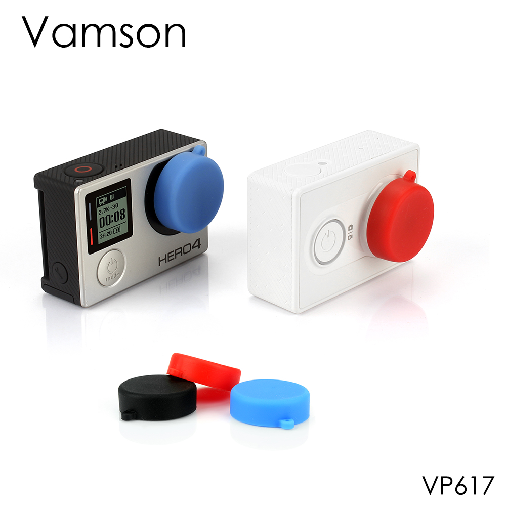 Vamson For Go Pro Accessories 3 Colors Silicone Lens Cap Cover For GoPro Hero 4 3+ 3 For Xiaomi For Yi Sport Camera VP617