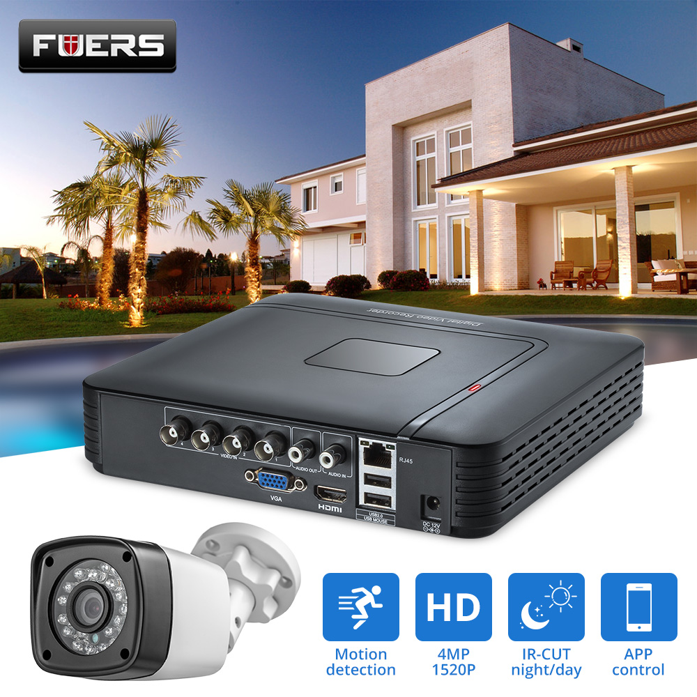 FUERS 4 0MP 4CH 5in1 AHD DVR Surveillance CCTV Security System 1520P Waterproof Camera CCTV Video