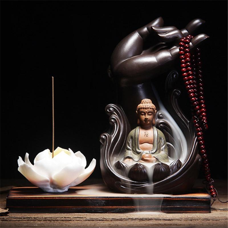 Parfum d'ambiance encensoir d'encens en céramique aromathérapie brûleur bergamote Lotus Vintage ligne glaçure bouddha fumée plaque de reflux