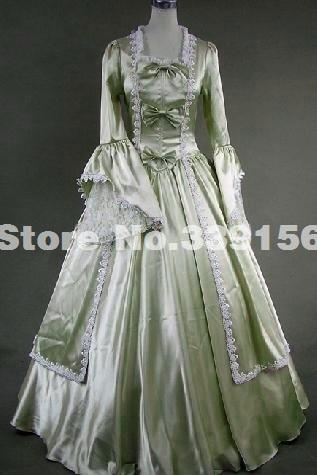 Hot Sale Light Green Marie Antoinette Georgian Style Satin Prom Period Dress  Ball Gown Reenactment Theater