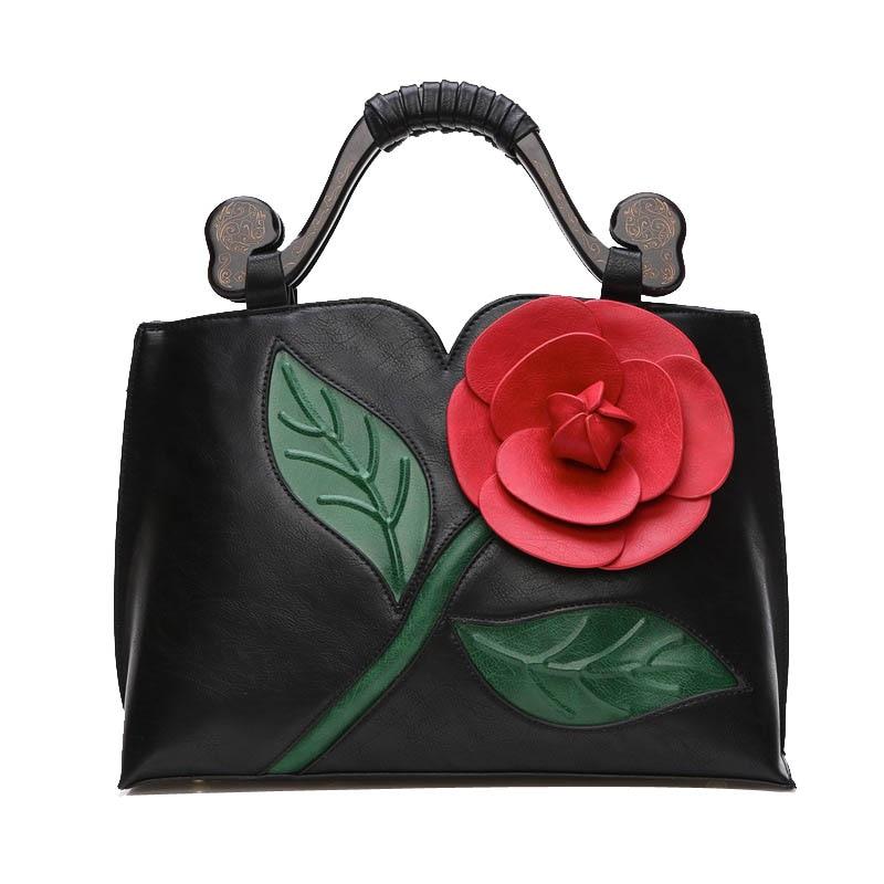 ФОТО Fashion Retro Flower Tote Handbag Designer Handbags High Quality Leather Shoulder Bag for Women Woodcarving bolsas feminina T596
