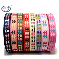 """HL 1""""(25mm) 5 Meters/lot Printed Square Grosgrain Ribbons Wedding Party Decorative Gift Wrapping DIY Chilren Hair Accessories"""