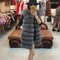 Nuevo mejor Real chaleco de piel de mujer naturales de piel de zorro para mujer de cuero genuino chaqueta chaleco más el tamaño de la ropa