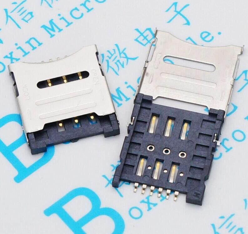 10PCS/LOT Mobile Phone SIM Card MICRO Card Flip Type 1.8H 6P SIM Card Slot FREE SHIPPING