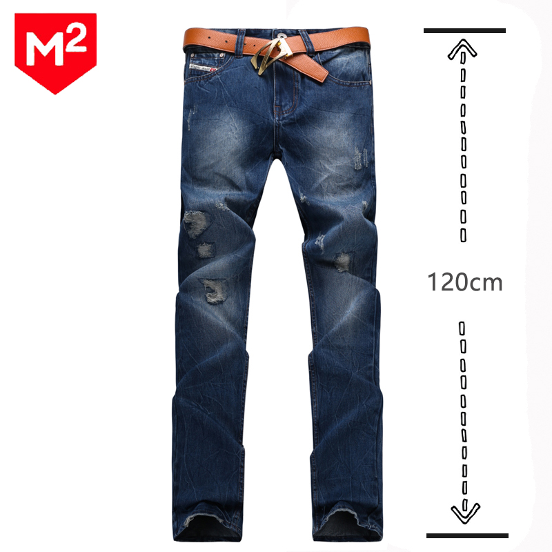 ФОТО Mens Slim Fit Pencil Pants Ripped Frayed Denim Jeans Hole Patch Jean Fashion Casual Cotton Big Size Trousers For Tall 120cm