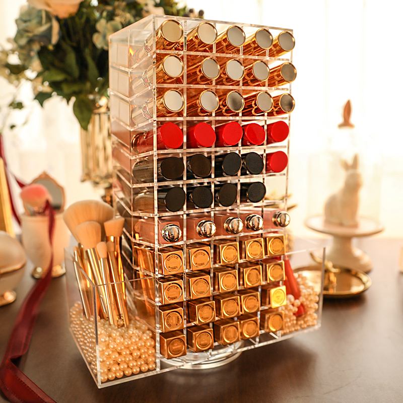 110Lattices Acrylic Lipstick Organizer 360 Degree Rotated Lipstick Tower Storage Makeup Lipstick Holder As A Gift