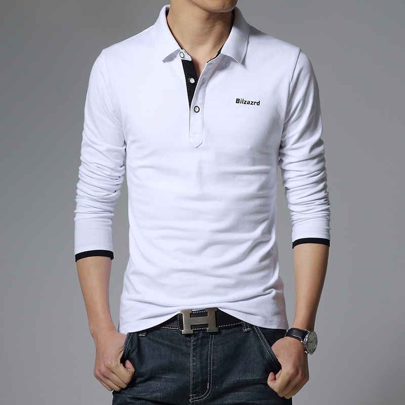 2016 New Mens Long Sleeve Solid Polo Shirt Slim Fit Brand ...