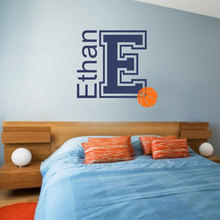 Personalized Name Basketball Wall Decal Vinyl Home Decor Kids Room Boy Bedroom Custom Name Sticker Monogram Interior Murals A205 personalized initial letter wall decal monogram room decor cinderella carriage princess design wall sticker home decor ay0102