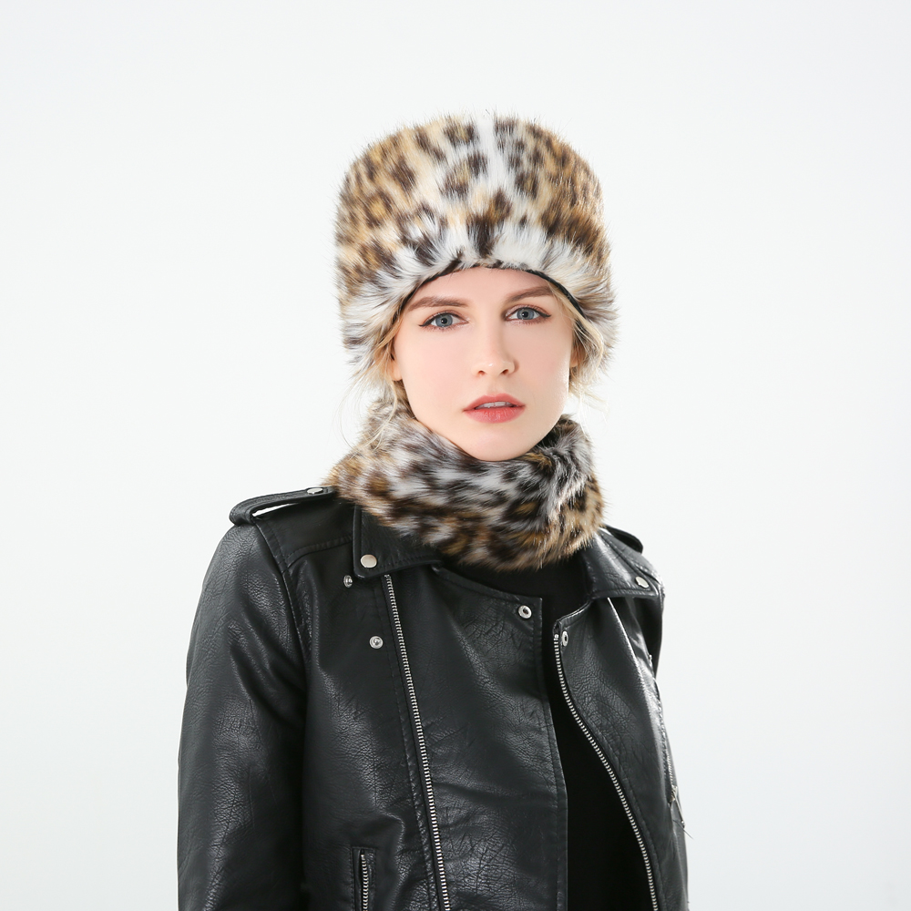 Winfox 2018 New Fashion Winter Sexy Lovely Faux Fur Leopard Hat And Scarf For Women Ladies in Women 39 s Scarves from Apparel Accessories