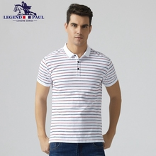 Legend Paul Brand 2017 summer fashion men's New Cotton Men Polo stripe business Shits Short Sleeve Casual male top tee