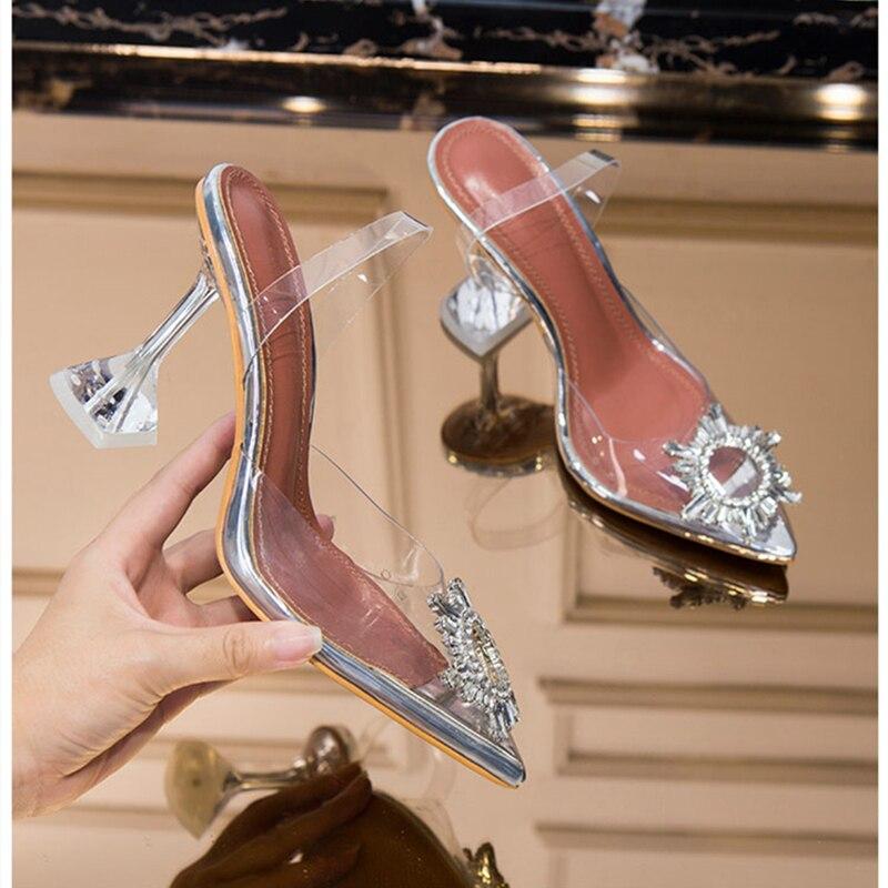 Meifeini 2019 lato nowy przezroczyste damskie sandały moda eleganckie galaretki szpilki szpiczasty buty na wysokim obcasie z ozdobnymi kamieniami w Wysokie obcasy od Buty na  Grupa 1