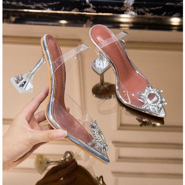 Meifeini 2019 여름 새로운 투명 여성 샌들 패션 우아한 젤리 스틸 신발 지적 라인 석 하이힐