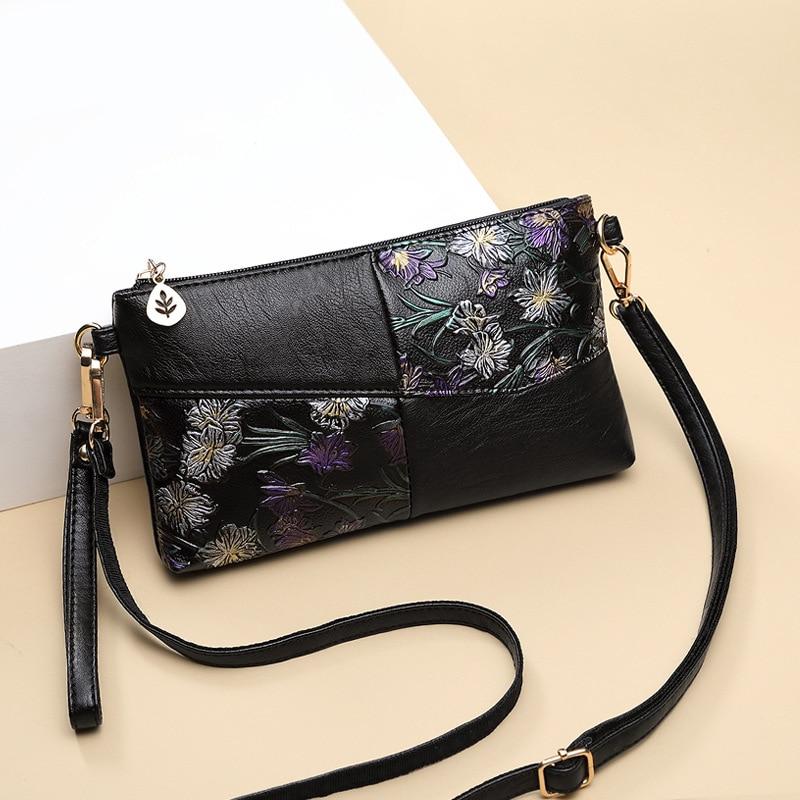 2019 Women Bag Female Shoulder Bag Flower Floral Crossbody Leather Zipper Pocket Messenger Handbags Mini Femme Designer Vintag 3