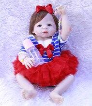 55 cm Brinquedo Da Boneca Reborn Bebê Silicone Vinil Cheio Princesa Recém-nascidos bebês Menina Bonecas Bebe Vivo Bathe Toy Kid Presente Bonito dollmai