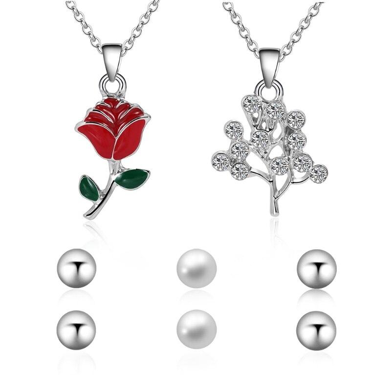 1 Satz Halskette Ohr Studs Frauen Schmuck Mode Ohrringe Perle Blume Baum Anhänger Schmuck Party Ornamente Anzug Angenehm Im Nachgeschmack