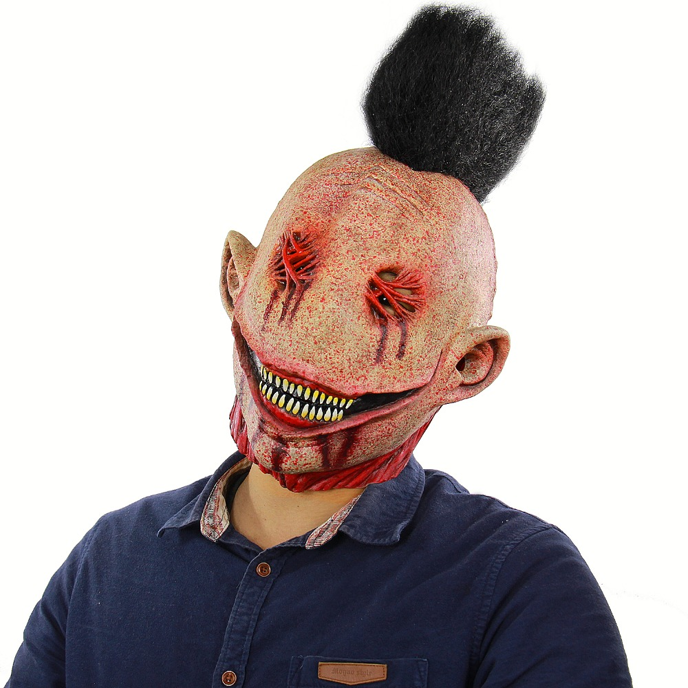 Halloween Creepy Mask Zombie Masks Horrible Adult Full Face Horror Evil Bloody Big Slit Mouth Punk Clown Scary Monster Masks