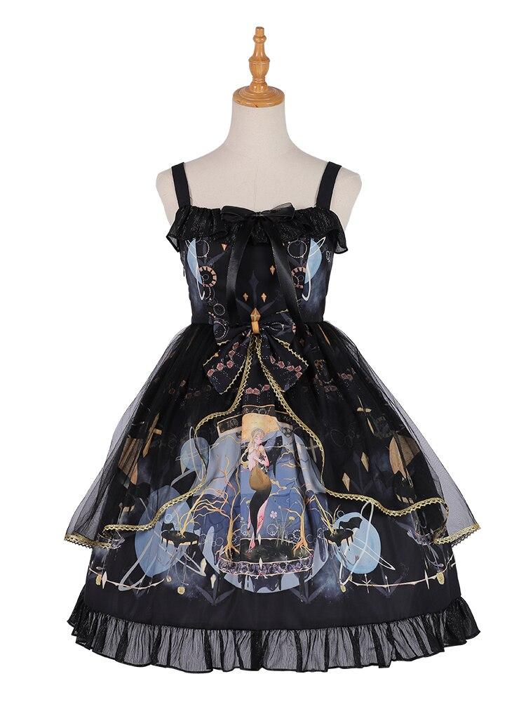 Robe Lolita noire gothique Lolita Jsk robe nœud et volants maille robe d'été pour les filles