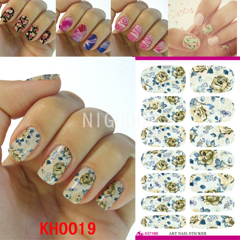Flower self adhesive nail wraps stickers full cover nails art flower self adhesive nail wraps stickers full cover nails art decorations flower nail art decals stick on nails ru decal nkh0019 in stickers decals from prinsesfo Gallery