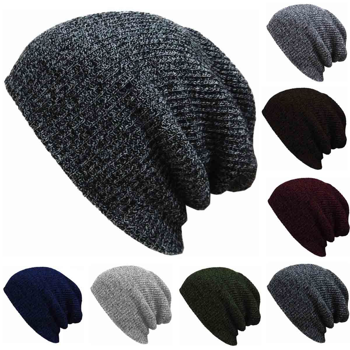 Autumn Winter Men Slouch Skull Oversize Long Beanie Women Baggy Cap Crochet Knit Ski Hat hot winter beanie knit crochet ski hat plicate baggy oversized slouch unisex cap