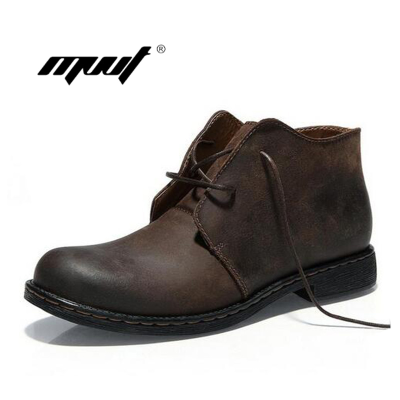 8121e90986 Louco dos de Segurança do Trabalho dos de Couro Homens Botas Estilo  Britânico Artesanal Couro Genuíno Outono Martin Ankle Boots Inverno Sapatos  à Prova d  ...