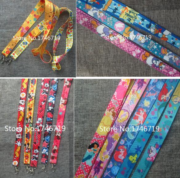 Free Shipping 50 pcs cartoon princess mickey minnie pig Key Chains Neck Strap Keys Camera ID