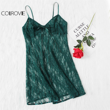 COLROVIE Lace Cami Nightdress with Bow Detail