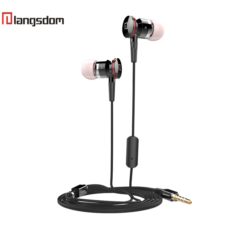 Langsdom A10 Earphone In-Ear Earbuds For Phone Wired Earphones With Microphone Fone De Ouvido For Samsung iPhone Meizu Xiaomi new langsdom phone earphones with microphone dual driver in ear earphone headset for phone earbuds fone de ouvido mp3 xiaomi