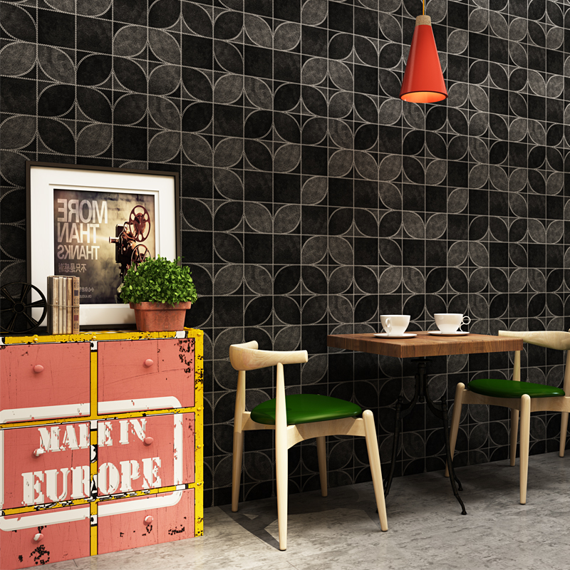 PVC Waterproof Vinyl Wall Paper 3D Black Lattice Modern Restaurant Cafe Shop Decor Wall Covering Wallpaper Papel De Parede 3D bakery wallpaper wheat with bread 3d modern mural used for restaurant cafe background wallpaper papel de parede home decor
