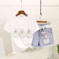 Taotrees Female Summer Nail Bead Perfume Bottle Printed Short Sleeve T shirt + Mid waist Denim Shorts Two Sets
