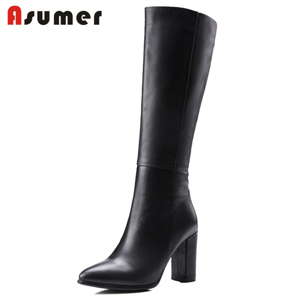 ASUMER SIZE 32-43 2018 HOT fashion knee high boots women genuine leather square high heels pointed toe zipper boot dress shoes