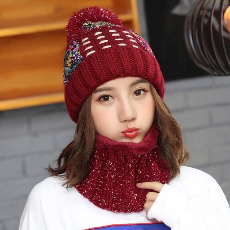SUOGRY Women Thick Winter Hats Skullies Knitted Hats Gorros Hat for Female Wool Scarf Balaclava Hat Mask Gorras Bonnet in Men 39 s Skullies amp Beanies from Apparel Accessories