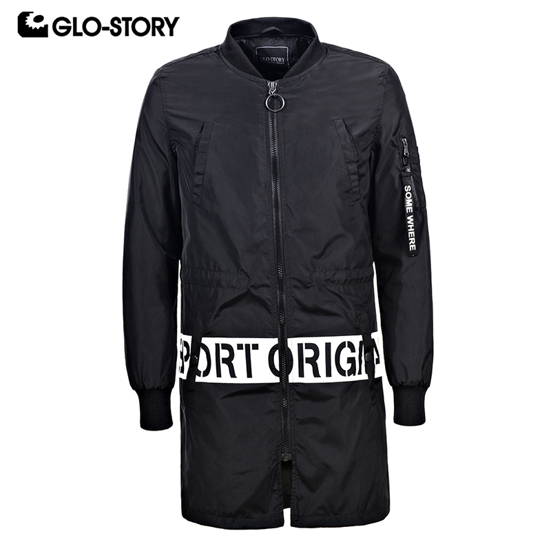 GLO-STORY Mens 2018 Spring Long Windbreaker   Trench   Coat Men Casual Streetwear Hip Hop Mandarin Collar Overcoat MFY-6005