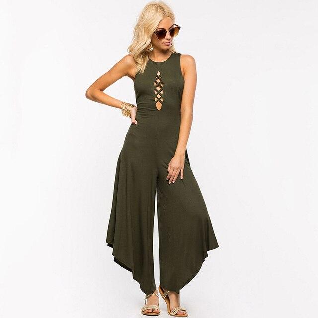 Европейский Американский стиль выдалбливают женщины комбинезон мода sexy свободные широкие брюки ноги комбинезоны рукавов спинки боди K60