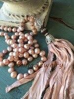 Pink Sari Silk Tassel Necklace Knotting Pearls Beads Necklace Shabby Bohemia Urban Hippies Jewelry N17081628